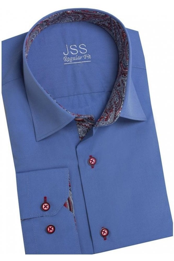 Mens premium designer formal regular fit dress shirt for Mens dress shirts with contrasting collars and cuffs