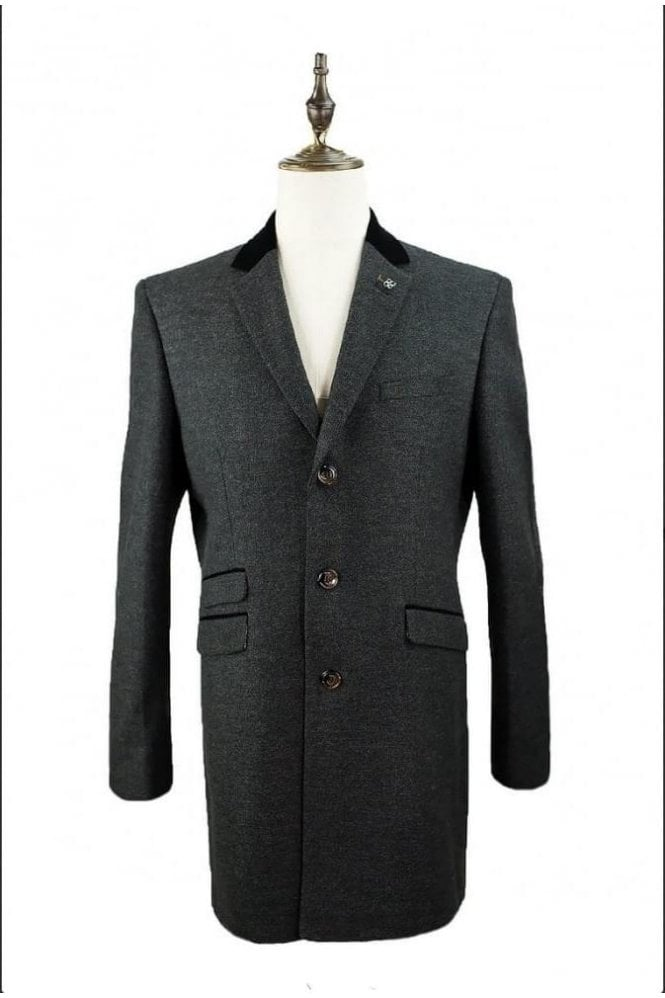 Cavani Fabrini Long Tweed Style Grey Overcoat