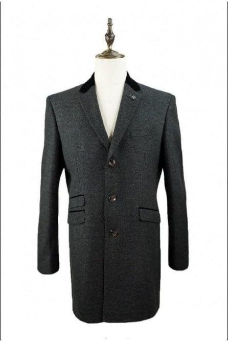 Fabrini Long Tweed Style Grey Overcoat