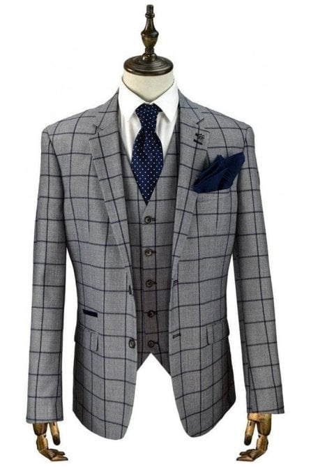 Macy Grey & Blue Check Suit Jacket