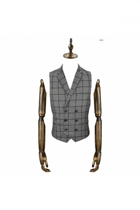 Macy Grey & Blue check Waistcoat