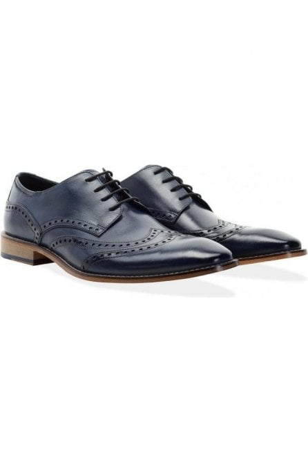 Mens Gisburn Double Wing Tipped Derby Brogue Navy