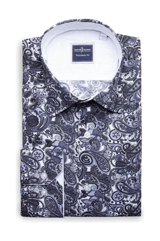 c81a9b24c33 JSS Black & white paisley MOD style full floral printed shirt