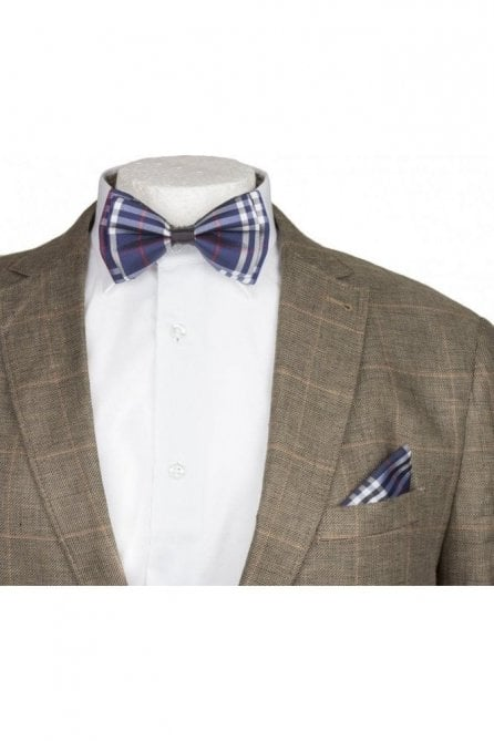 Blue & White Checked Silky Satin Bow Tie And Handkerchief Set