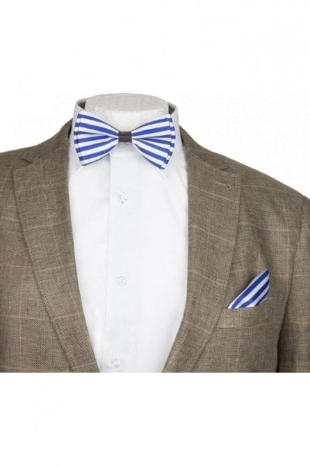 Blue & White Striped Silky Satin Bow Tie And Handkerchief Set