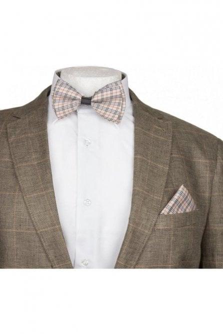 Checked Silky Satin Bow Tie And Handkerchief Set