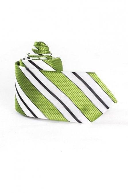 Green & white striped silk neck tie