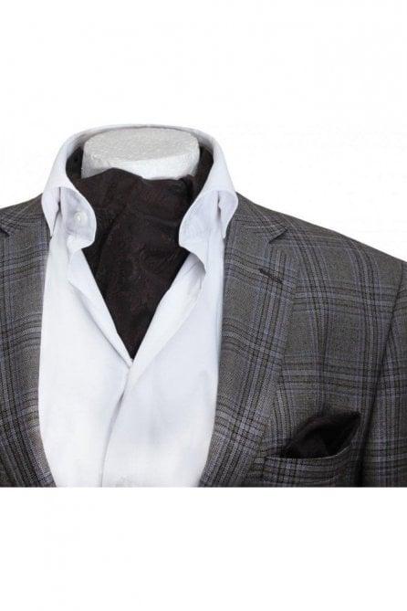 Mens casual brown paisley silk cravat & handkerchief set
