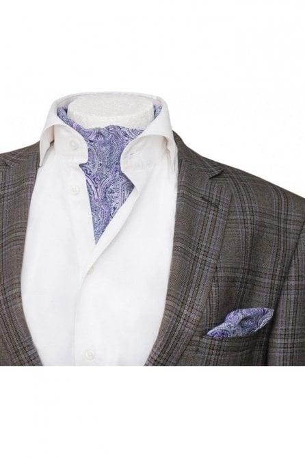 Mens casual lilac & white paisley cotton cravat & handkerchief set