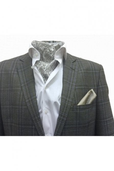 Mens casual white & brown paisley cotton Cravat and handkerchief set