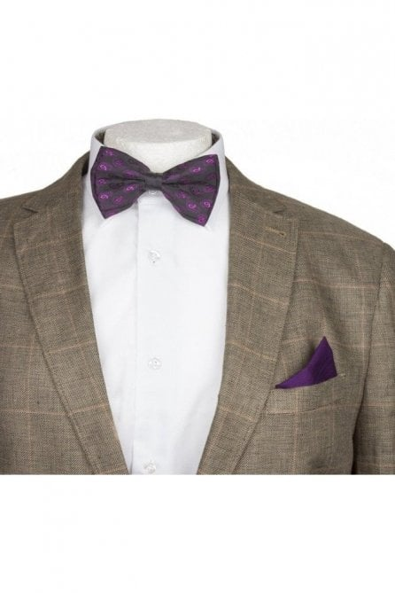 Mens Purple Paisley Patterned Silky Satin Bow Tie And Handkerchief Set
