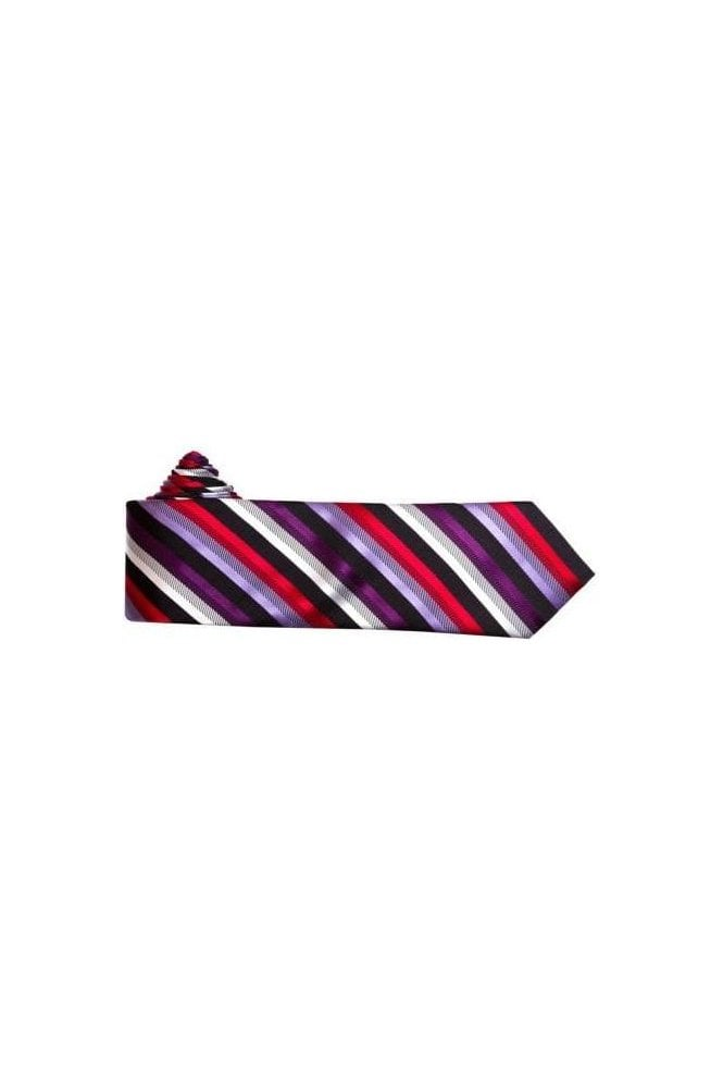 Jss mens purple red and black striped silk neck tie jss for Striped tie with striped shirt