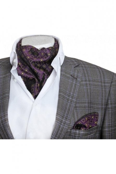 Mens purple & yellow patterned silk cravat and handkerchief set