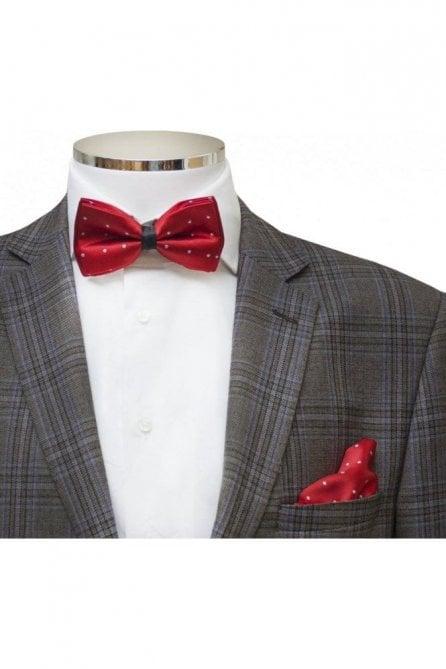 Mens Red Polka Dot Silky Satin Bow Tie And Handkerchief Set