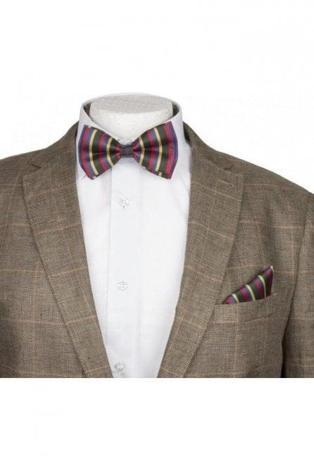 Multi Stripe Silky Satin Bow Tie And Handkerchief Set