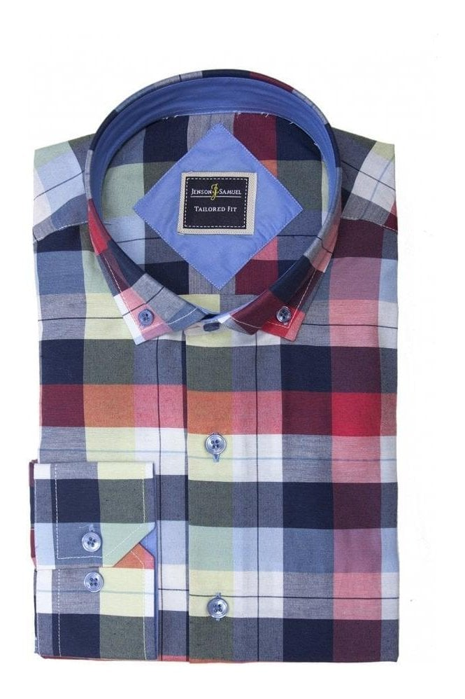 eb51b5e7eb JSS Red and Blue Check slim fit shirt with contrast collar & cuffs ...
