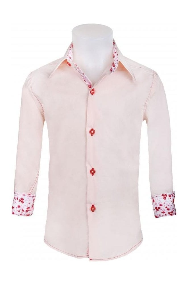 Jenson Samuel Junior Boys Formal Pink Shirt With White & Pink ...