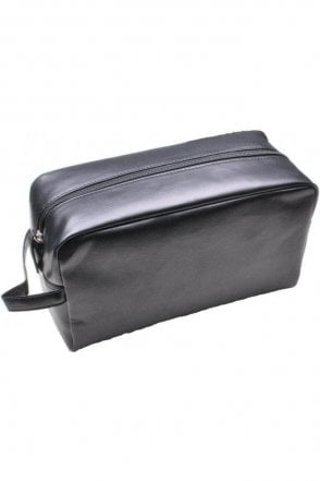 Mens Black Faux Leather Wash Bag