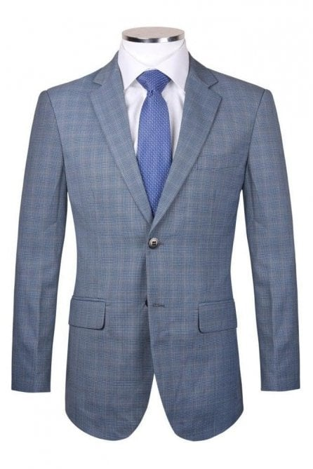 Mens Light blue tweed style check blazer jacket