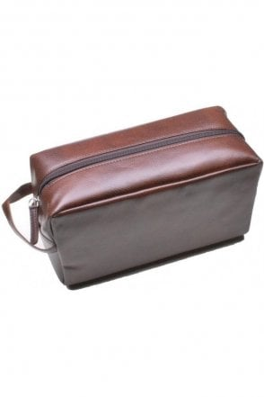 Mens Tan Faux Leather Wash Bag