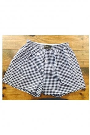 Blue & White Check Boxer Shorts & Bag