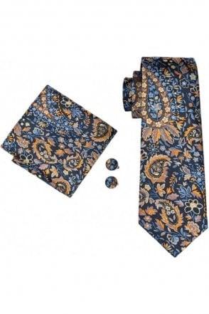 Mens Blue and Orange Floral 100% silk pocket square, cufflink and tie set