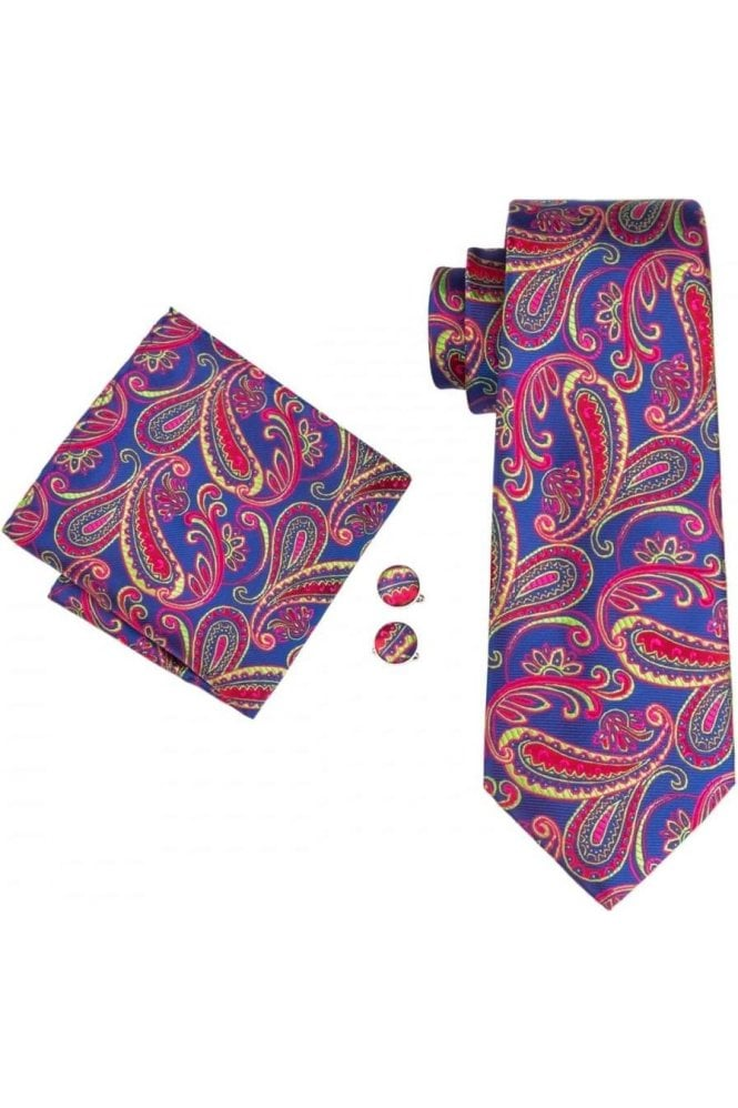 a5fd58a64cce6 JSS Mens Blue and Red Paisley 100% silk pocket square, cufflink and tie set