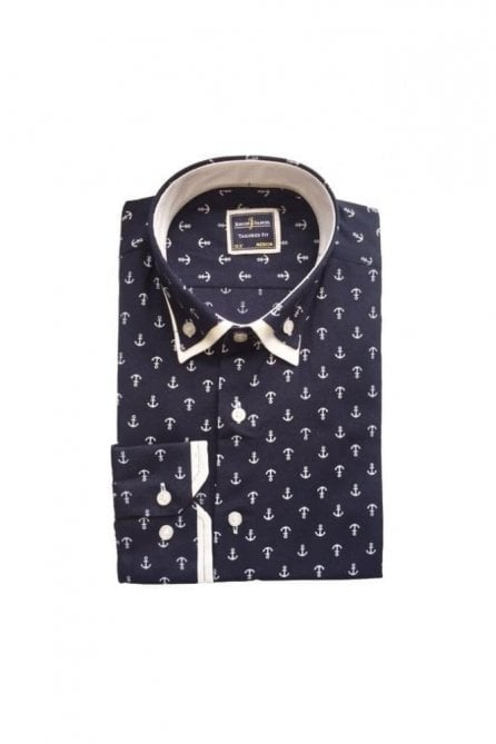 Anchor Print Black Slim Fit Shirt with White Double Collar