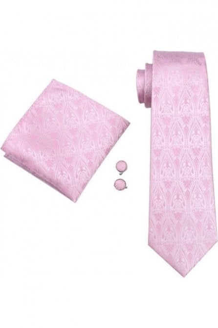 Baby pink paisley silk wedding tie, pocket square & cufflink set