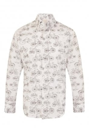 Bike Print White Regular Fit 100% Cotton Shirt