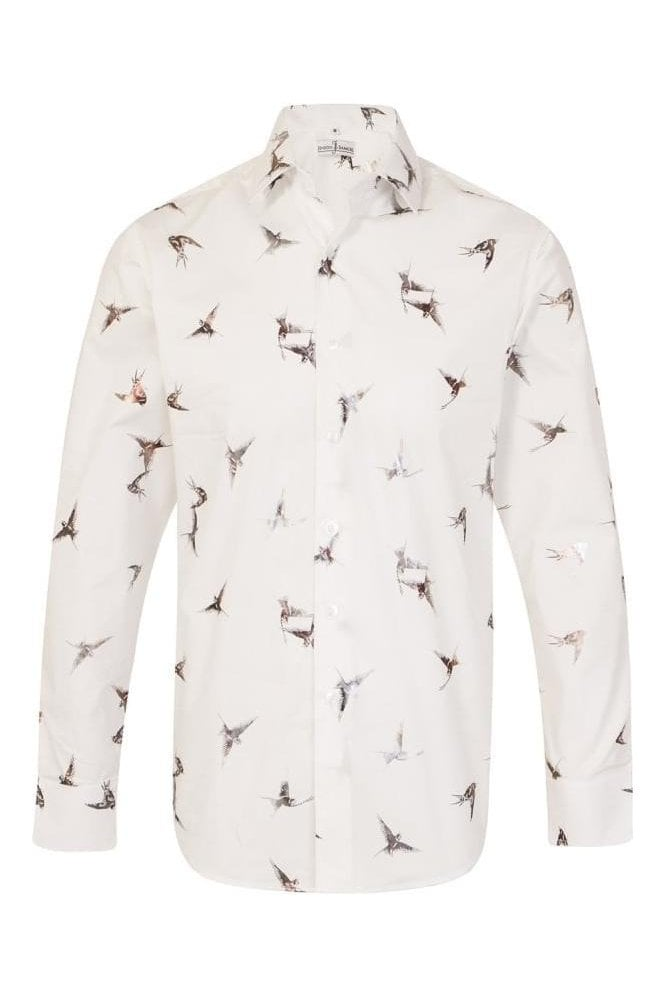 JSS Bird Print Cream Regular Fit 100% Cotton Shirt