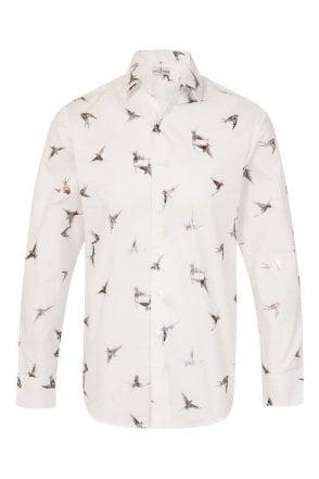 Bird Print Cream Regular Fit 100% Cotton Shirt