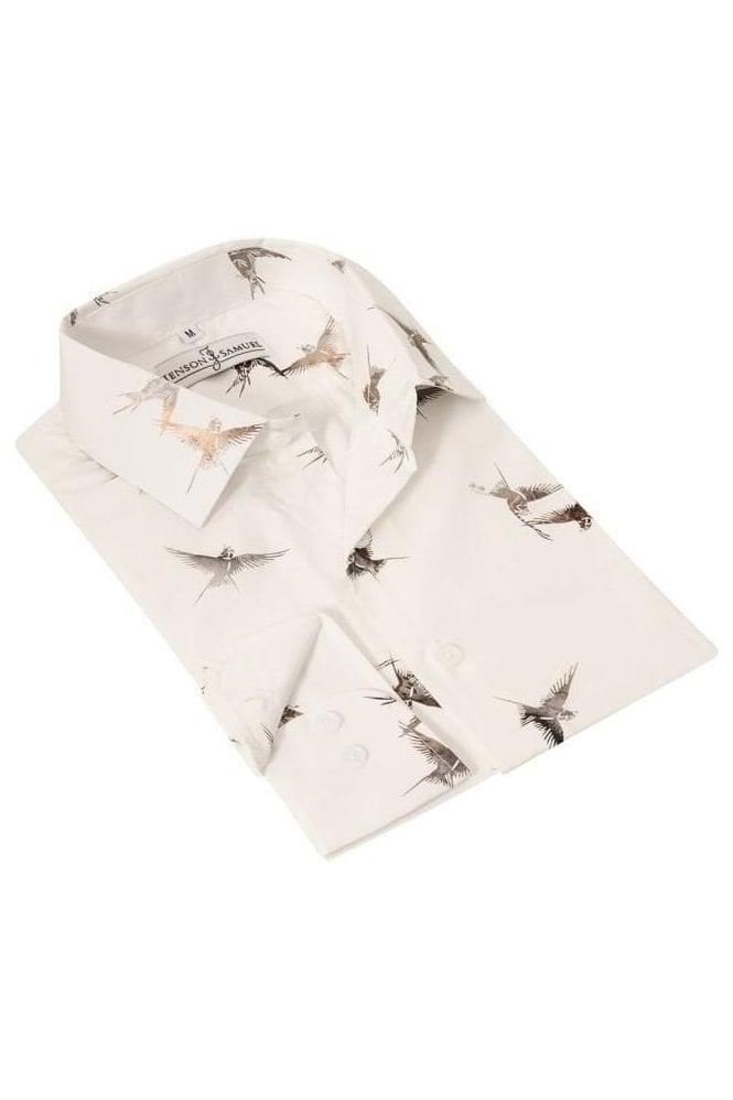 648fc8404b9 Bird Print Cream Regular Fit 100% Cotton Shirt