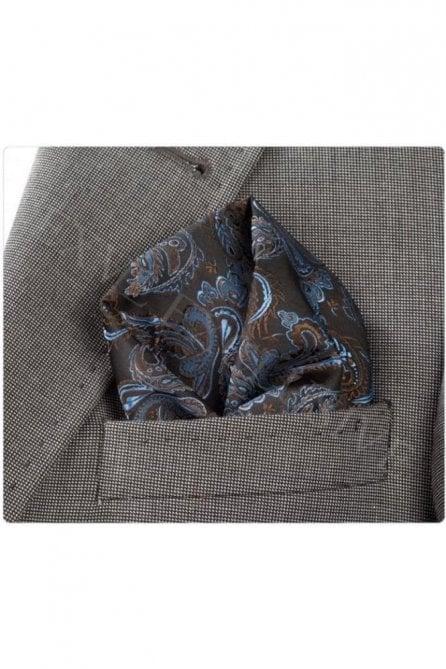 Black & brown silk pocket square / hanky