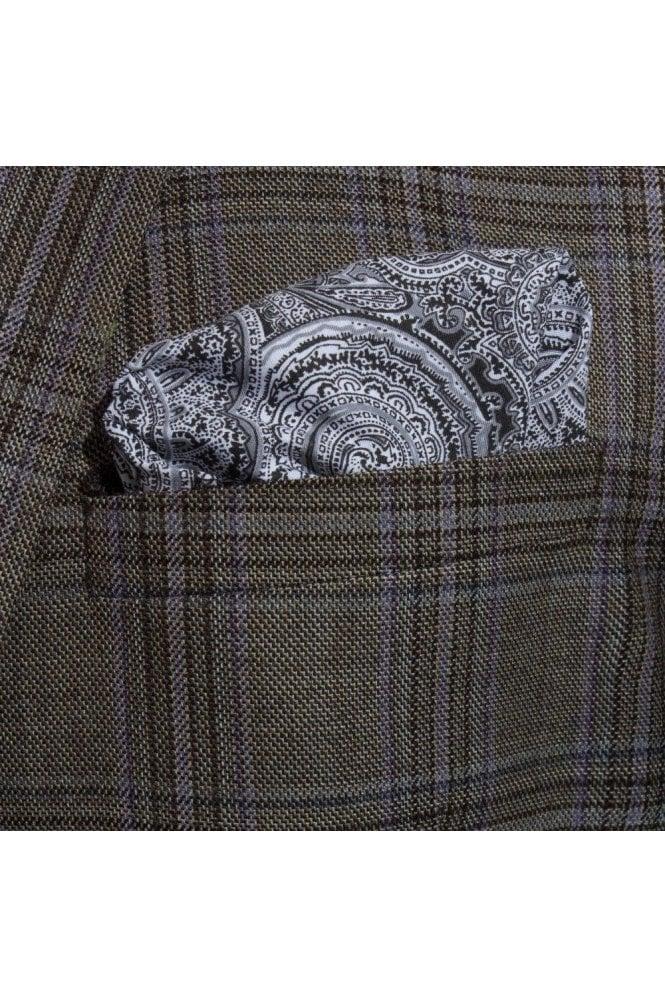 JSS Black Paisley Cotton Handkerchief Pocket Square