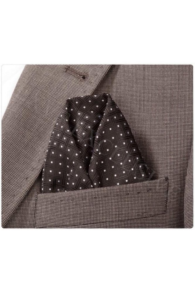 JSS Black Polka Patterned Silk Pocket Square
