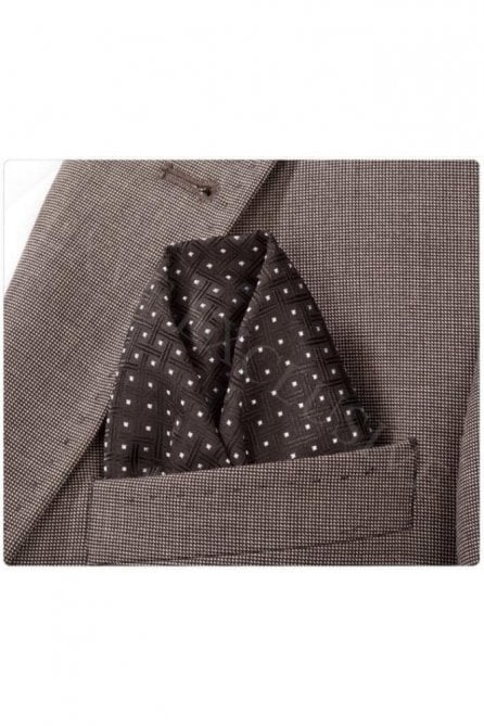 Black Polka Patterned Silk Pocket Square