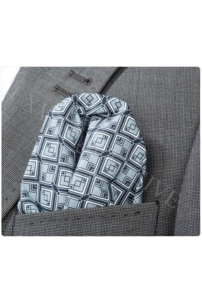 be41c2df1d6fc JSS Black & Silver Diamond Patterned Cotton Pocket Square ...