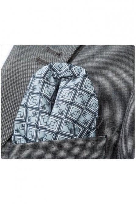 Black & Silver Diamond Patterned Cotton Pocket Square