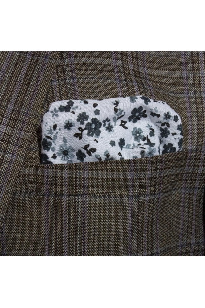 JSS Black & White Floral cotton pocket square