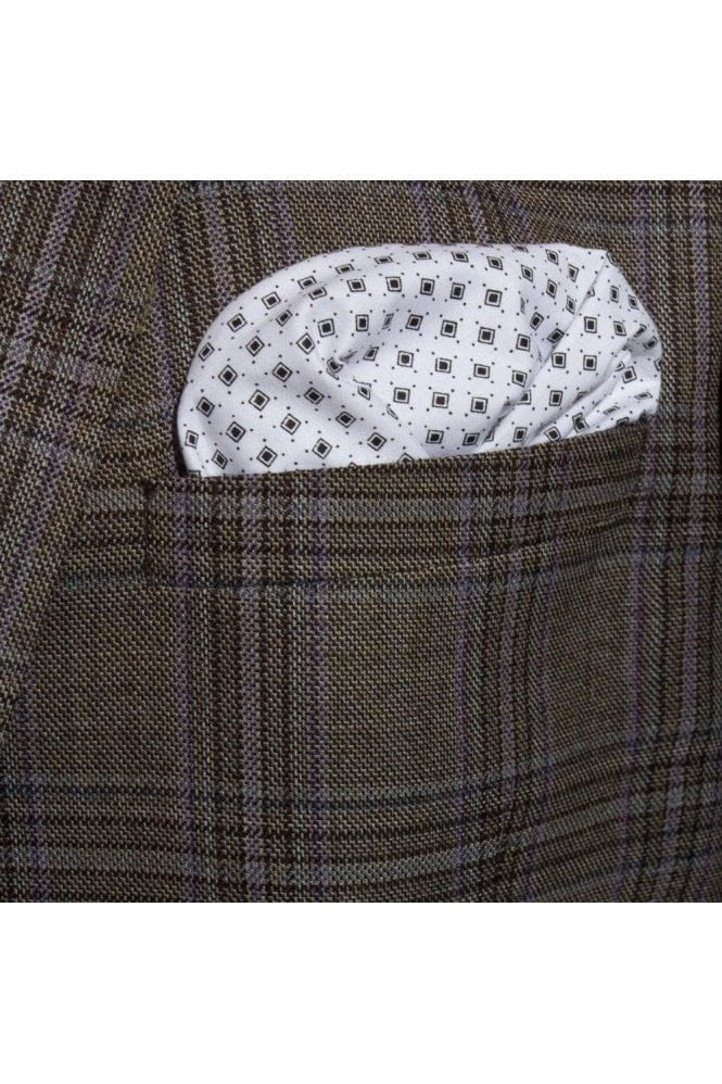 JSS Black & White Patterend Cotton Pocket Square