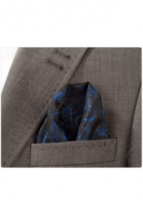 Blue & Black Paisley Silk Pocket Square / Hanky
