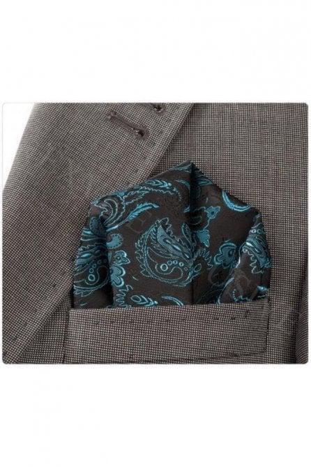 Blue & Black Paisley Silk Pocket Square