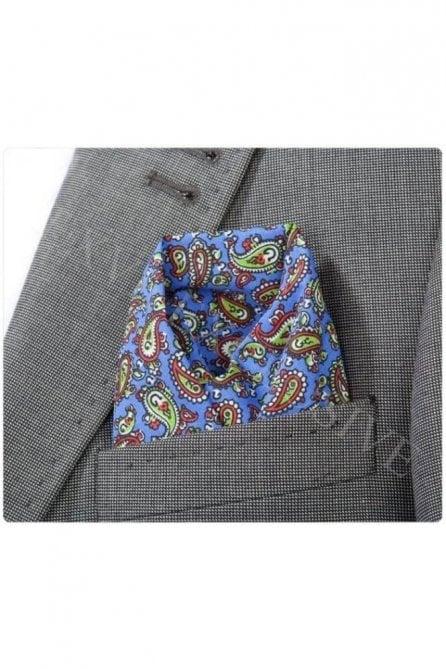 Blue Cotton Pocket Square