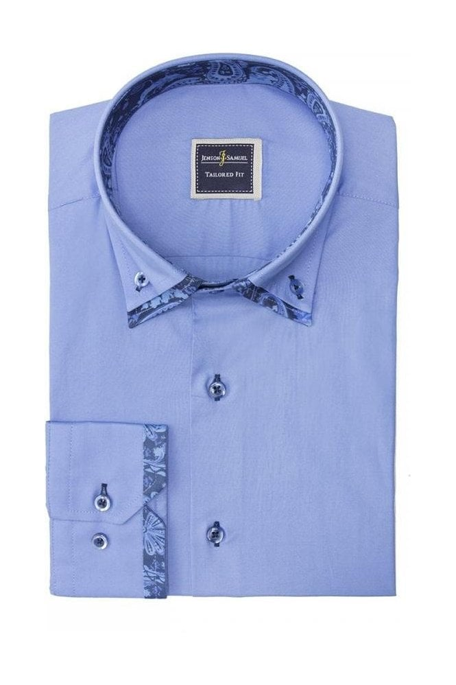 JSS Blue Retro Italian style double collar button down ...
