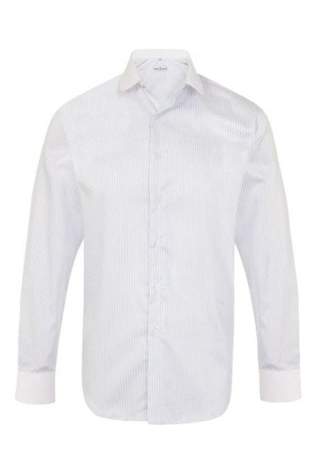 Blue striped regular fit shirt with jewel stud collar