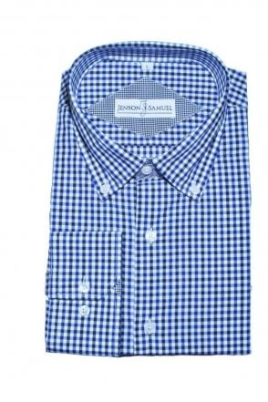 JSS Blue & White Checked Regular Fit 100% Cotton Shirt