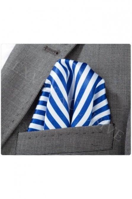 Blue & White Striped Silk Pocket Square