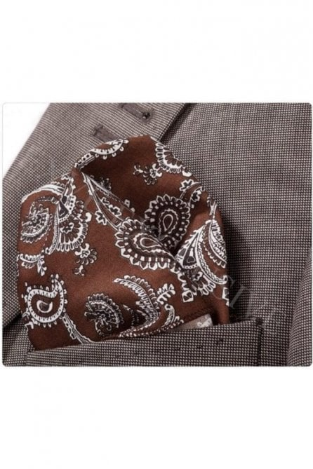 Brown Paisley Cotton Pocket Square