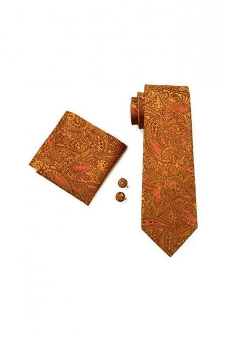 Brown paisley silk neck wedding tie, pocket square & cufflink set